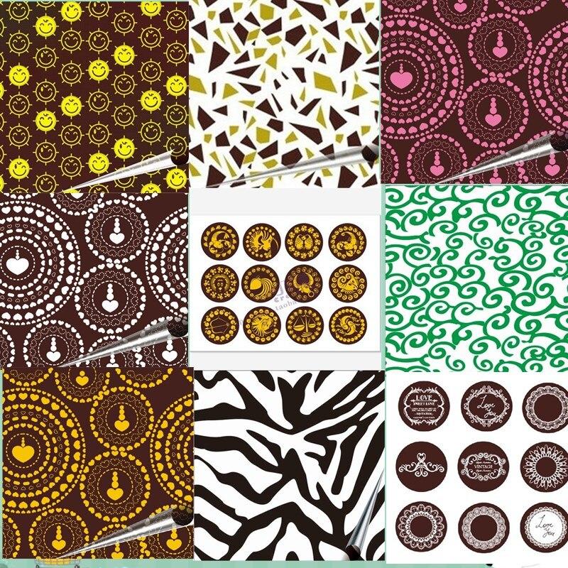 20 Sheets Chocolate Transfer Paper / Baking Mold Sheet / Cake  Decoration Free Shipping