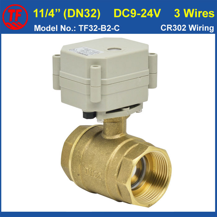 BSP or NPT Female 11/4'' 2 Way Brass Electric Ball Valve With Indicator, DC9-24V 3 Wires DN32 Motorized Valve Metal Gear Design mini brass ball valve panel mountable 450psi with lever handle chrome plated malexfemale npt