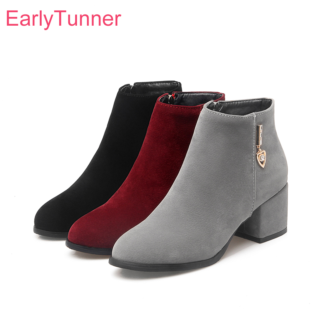 Brand New Sale Elegant Women Ankle Nude Boots Black Red Gray Sexy Lady Glamour Shoes Chunky Heel ED8 Plus Big size 32 43 45 10 brand new sexy women motorcycle boots black red beige white lady ankle riding shoes fashion nude heels ay902 plus big size 43 48