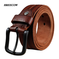 Vintage Cowboys 100 Real Full Grain Cowhide Genuine Leather Designer Belts Mens High Quality Ceintures Soft