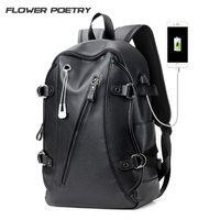 High Quality Practical PU Leather Mens Laptop Backpack Famous Brand Casual Men Laptop Backpack Black School