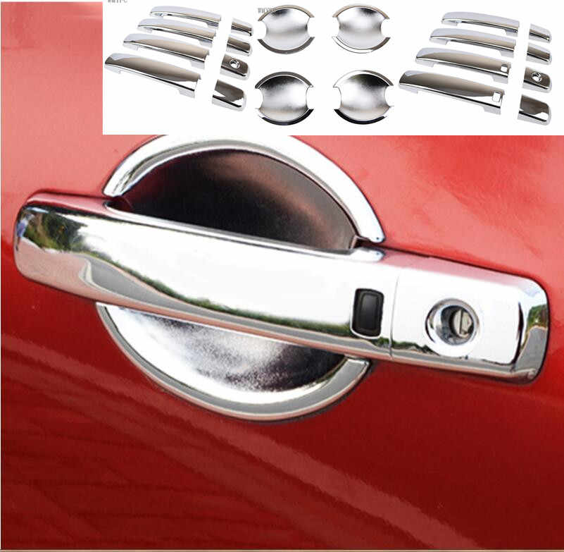 FIT FOR NISSAN QASHQAI DUALIS j10 2007 - 2013 CHROME DOOR HANDLE + DOOR BOWL COVER CUP TRIM CAP ACCESSORIES