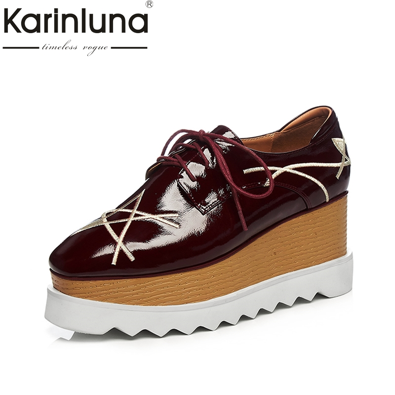 KARINLUNA Patent Leather 2018 Large Size 33-42 Wedge High Heels Lace Up Black Shoes Women Shoes Round Toe Platform Woman Pumps big size high heels round toe women platform shoes cool casual white lace wedge black creepers medium pumps mesh chinese fashion
