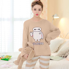 цена 2018 autumn and winter pajamas female cartoon big hero pattern long-sleeved top Pyjamas suit cotton women's home service XXXL