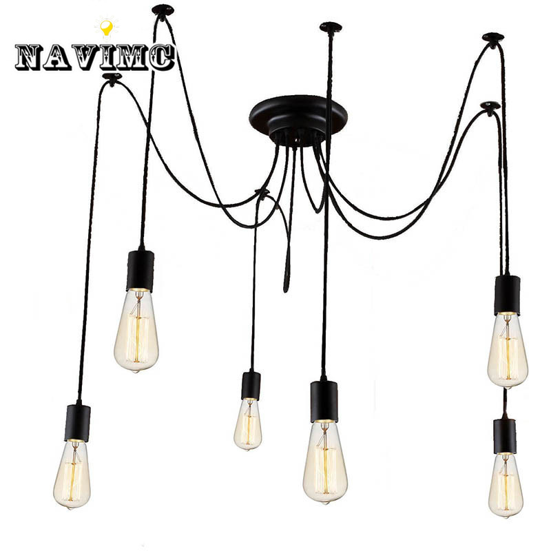 Modern Nordic Retro Edison Bulb Light Chandelier Vintage Loft Antique Adjustable DIY E27 Art Spider Pendant Lamp Home Lighting hemp rope chandelier antique classic adjustable diy ceiling spider lamp light retro edison bulb pedant lamp for home