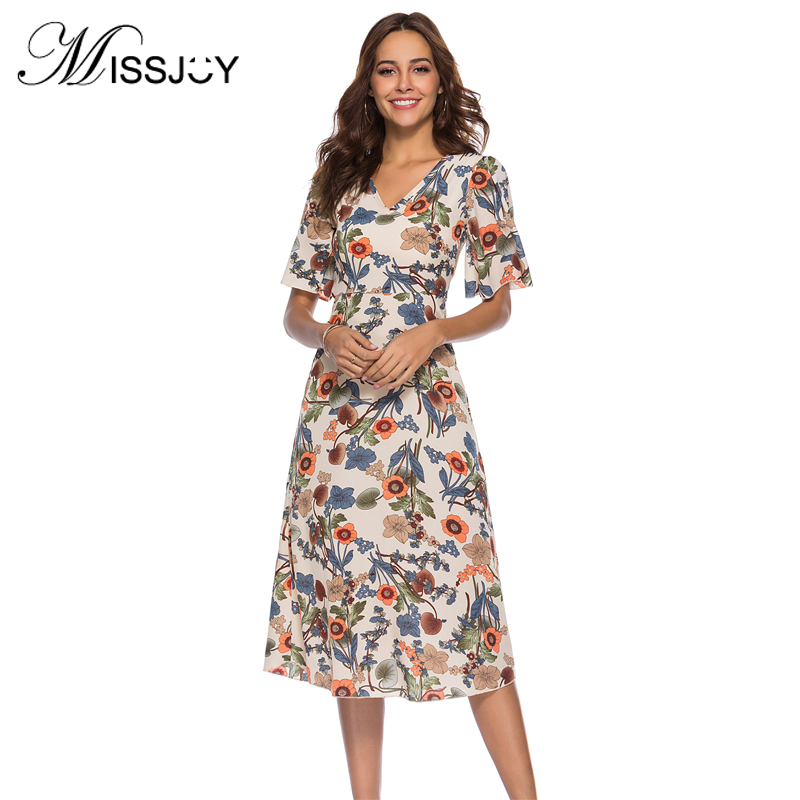 MISSJOY Trending Products 2018 Plus Size Women Clothing Short Sleeve V Neck Flower Print Chiffon Party Sexy Backless Midi Dress