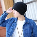 Men's winter outdoor Korean tide knitting wool hat cashmere thick warm sleeve head cap tab cycling cap