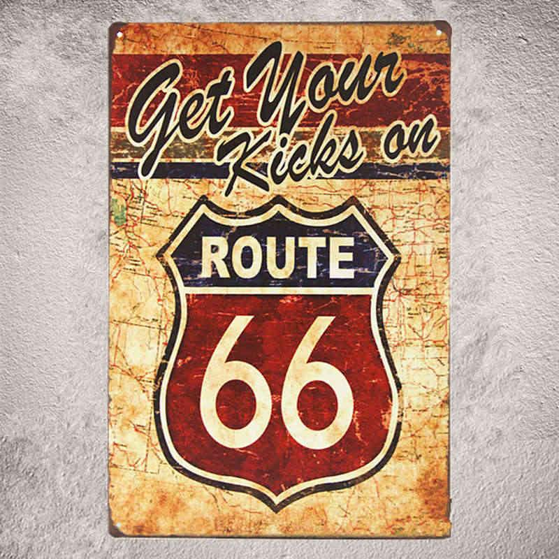 Металлические знаки износом олова дорога 66 США вывеска для гаража в стиле пин-ап автомобильный крючок деревенский Ресторан Паб Бар домашние наклейки на стену Декор