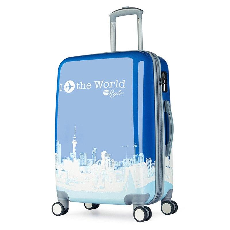 28-inch custom design rod box travel bags character printing boarding luggage box universal wheel men and women