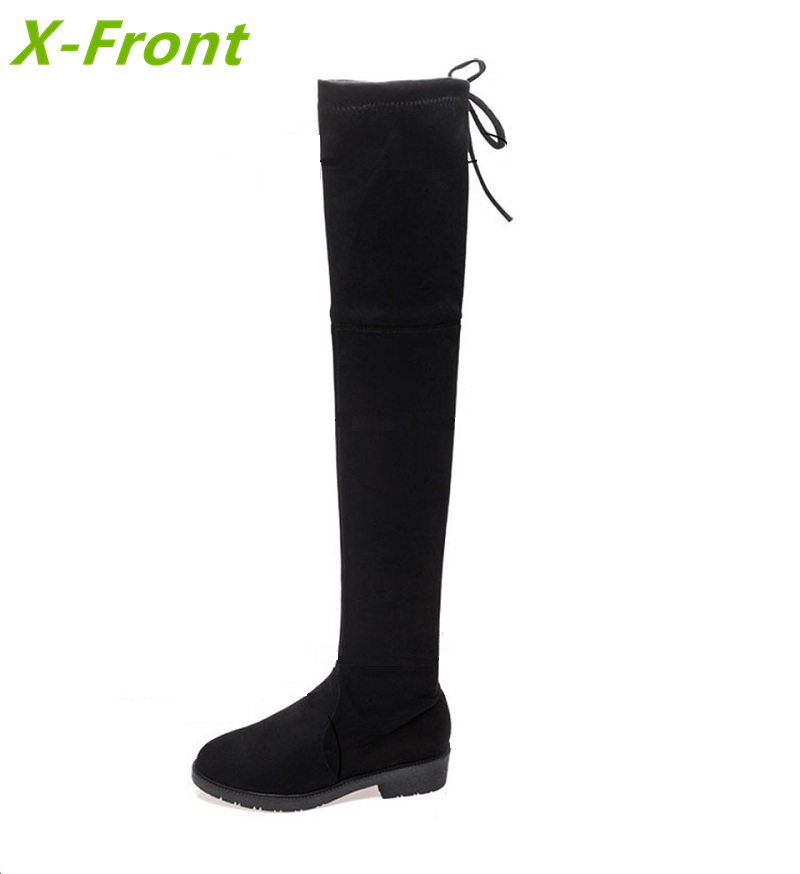 Female boots 2017 autumn and winter new knee boots stovepipe elastic boots flat high tube women shoes цены онлайн