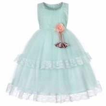 CAILENI Lace Flower Dress for Girls Summer Beading Elegant Kids Long Ball Gown Princess Party Wear Design Frock 4 to 13 Year