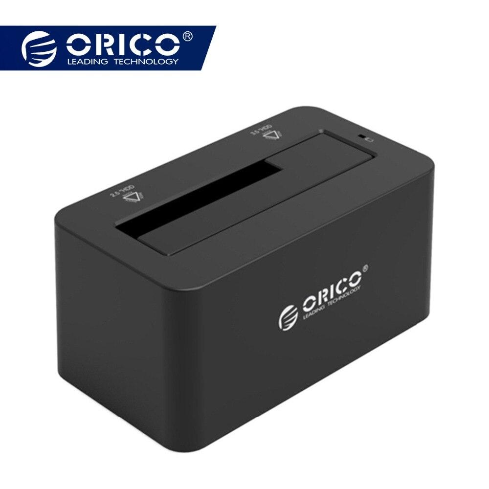 2,5/3,5 pulgadas USB3.0 a disco duro SATA Docking estación herramienta de diseño gratuito con 12V2A adaptador de corriente apoyo 8 TB MAX (ORICO 6619US3)