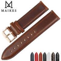 MAIKES Genuine Leather Watch Strap Brown Con Oro Rosa Chiusura cinturino 16mm 17mm 18mm 20mm Per DW Daniel Wellington Orologio fascia