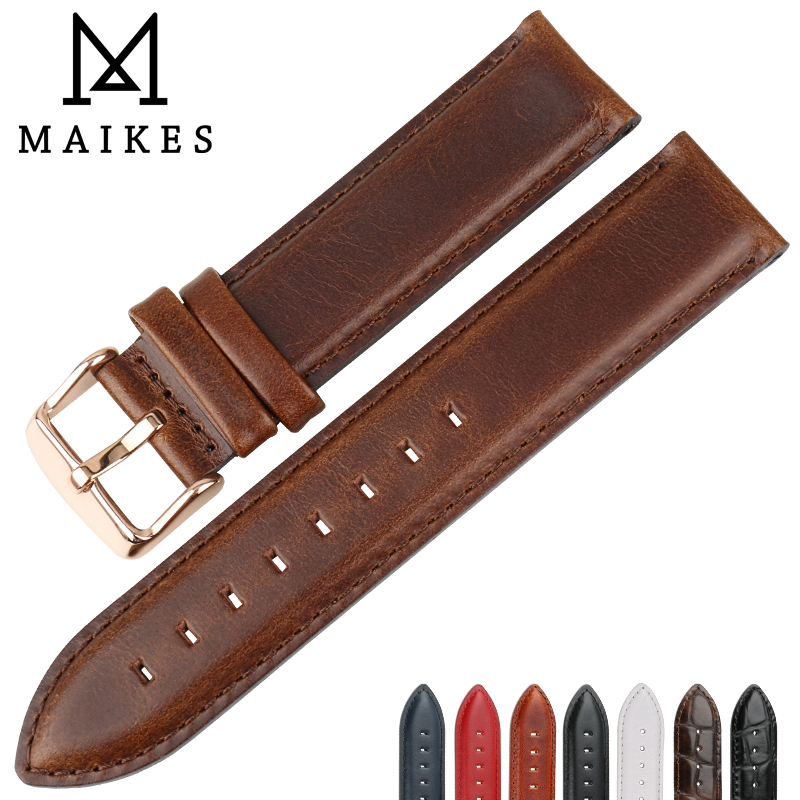 MAIKES Genuine Leather Watch Strap Brown With Rose Gold Clasp Watchband 16mm 17mm 18mm 20mm For DW Daniel Wellington Watch Band
