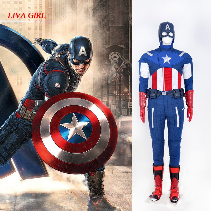 Captain America Costumes Avengers Age of Ultron Steve Rogers Cosplay Costume Superman Battlesuit Halloween Uniform Outfit
