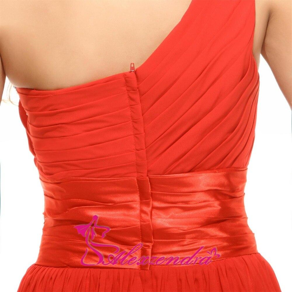 Alexzendra une ligne en mousseline de soie perlée une épaule robe de demoiselle d'honneur pour mariage longue robe de soirée robe de demoiselle d'honneur grande taille - 5