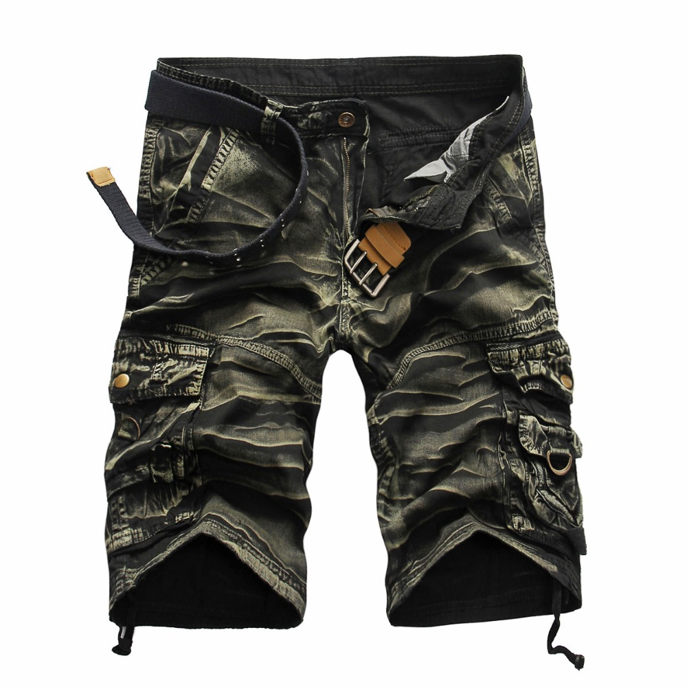 Mens Military Cargo Shorts 2018 New Army Camouflage Shorts Men Cotton Loose Work Casual Short Pants Plus Size No Belt Hot