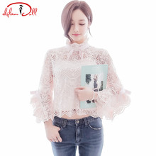 Hollow Out Flare Sleeve Bowknot Full Lace Blouse With Tanks & Camis Women Summer Stand Neck Pink Top 2017
