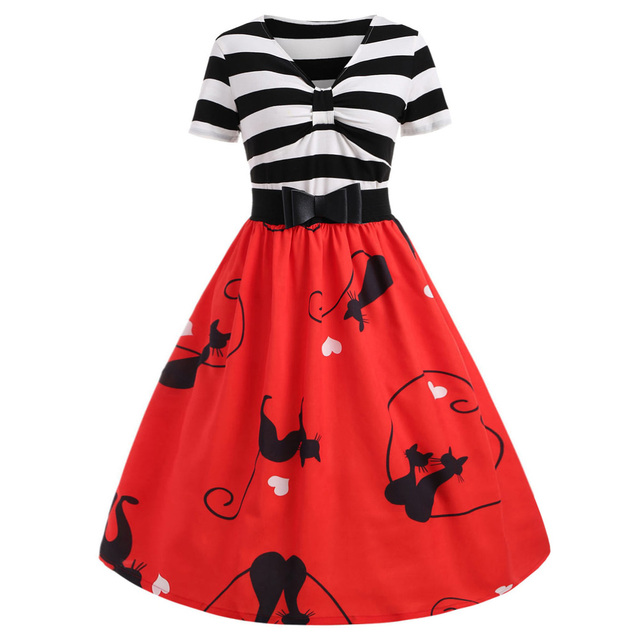 Kenancy Short Sleeves Stripes Cats Print Vintage Women Dress Party Feminino  Vestidos Cotton Blends Bowknot Summer Daily Dress e6a1251def51