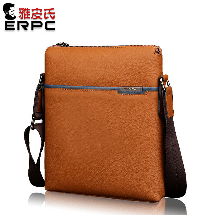3 colors / Men Genuine Leather Shoulder Bag Casual Small Flight Bag Briefcase Work Bag for Travel Business Blue / Tan / Coffee