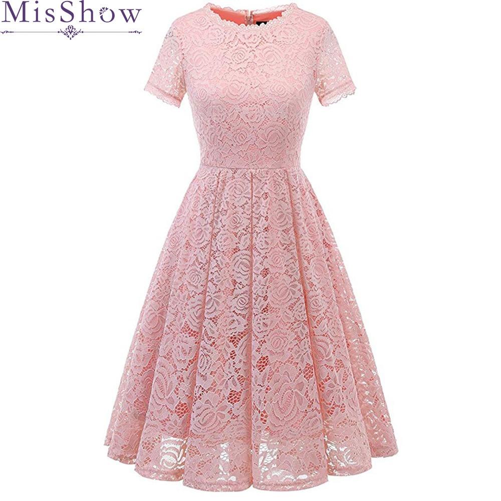 Discount Designer Dresses Cocktail: 2019 Cheap Pink Cocktail Dresses Full Lace Short Sleeve
