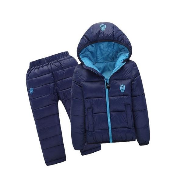 Grandwish Autumn Winter Boys Solid Down Sets Kids Cartoon Print Warm Sets Children Jackets Coats+Pants Boys Sets 18M-8T