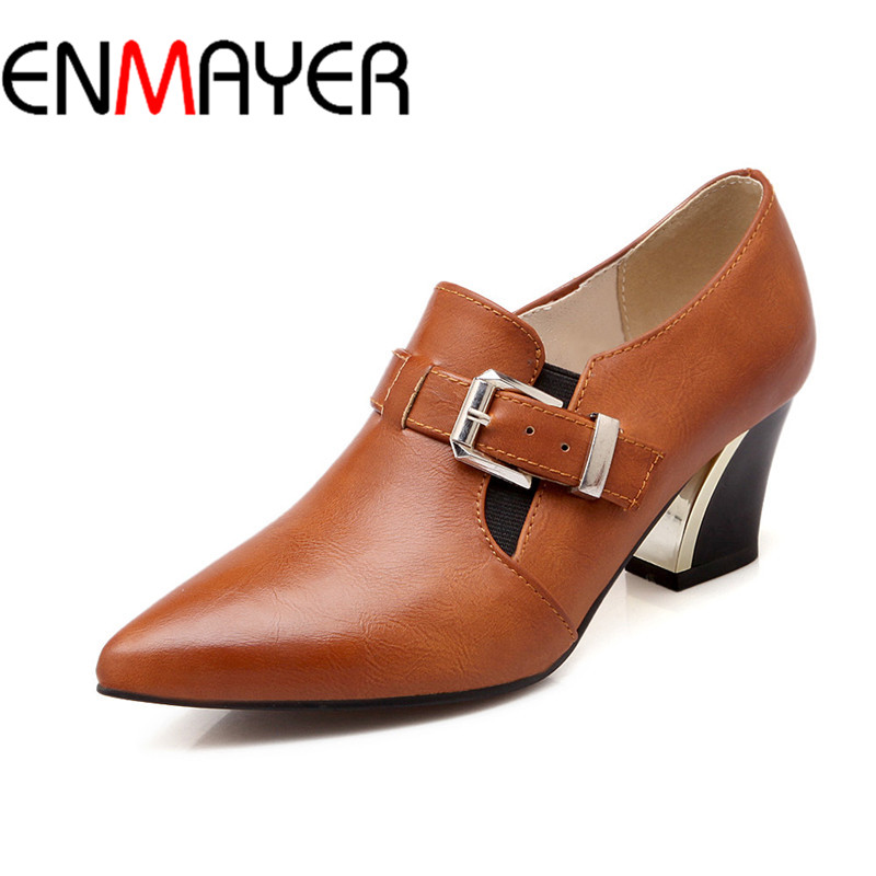 ФОТО ENMAYER Fashion Women Sexy Woman High Buclkle Strap Square Heel Ankle Boots Spring&Autumn Pointed Toe Pumps Women Shoes BigSize
