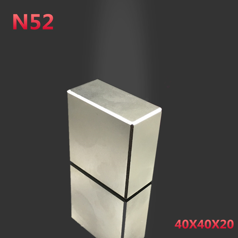 1pcs N52 Neodymium Magnet 40x40x20mm Super Strong  Magnet Powerful Rare Earth Block NdFeB 40*40*20mm Neodymium Magnets 40mm parnis white dial vintage automatic movement mens watch p25