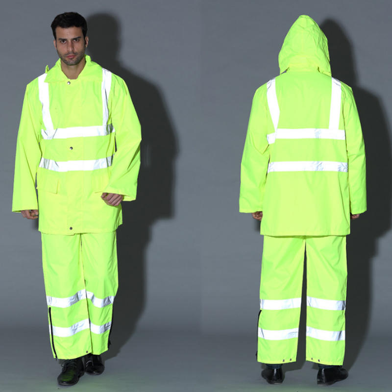 ФОТО 1 Set Unisex Safety High Visibility Reflective Raincoat Traffic Clothing For Workwear, Security staff