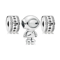 Spaceman & Star Stopper Silver Beads for Charm Jewelry Making Women Crystal Beads for Bracelets & Bangles DIY Silver 925 Jewelry