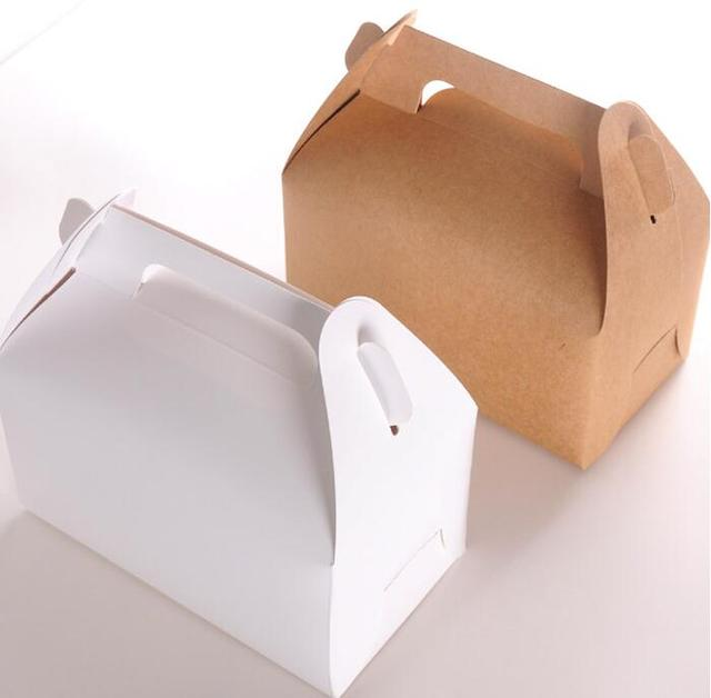 US $9 1 10% OFF 15pcs/lot Wholesale Kraft paper Cake Box with handle,brown  cup cake box with handle,wedding paper cardboard cake box white-in Gift