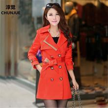 Plus Size XL-4XL 5XL 6XL Women Trench Coat New Spring Autumn Style Fashion Casual Dress Outerwear Dresses Lady dress vestidos