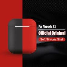 애플 airpods에 대 한 원래 공식 실리콘 소프트 이어폰 케이스 airpods 블루투스 무선 전화 커버에 대 한 1 2 피부 액세서리