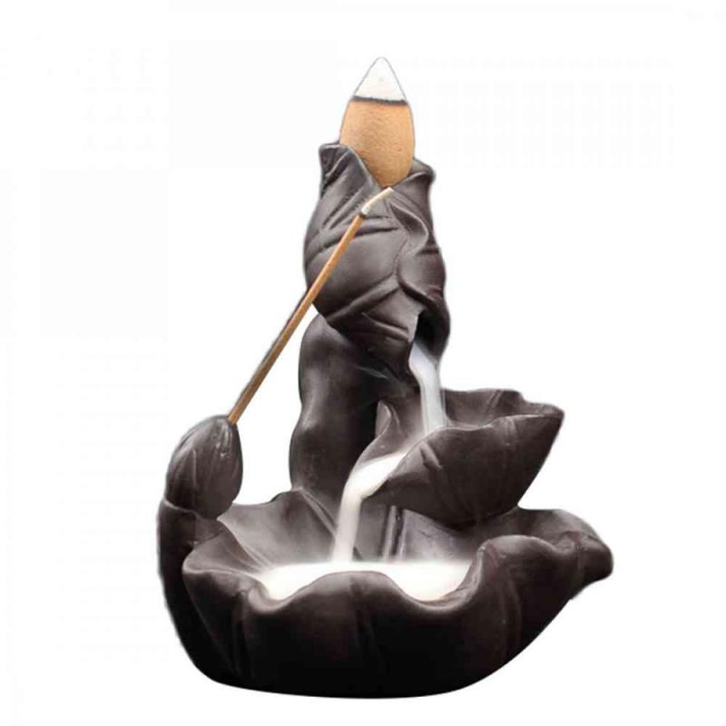 Lotus Leaf Ceramic Backflow Incense Burner Smoke Waterfall Stick Incense Holder Smell Aromatic Home Office Incense Crafts Censer in Incense Incense Burners from Home Garden