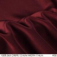 SILK CREPE DE CHINE 114cm Width 12momme 100 Natural Mulberry Silk Fabric DIY Matt Color Women