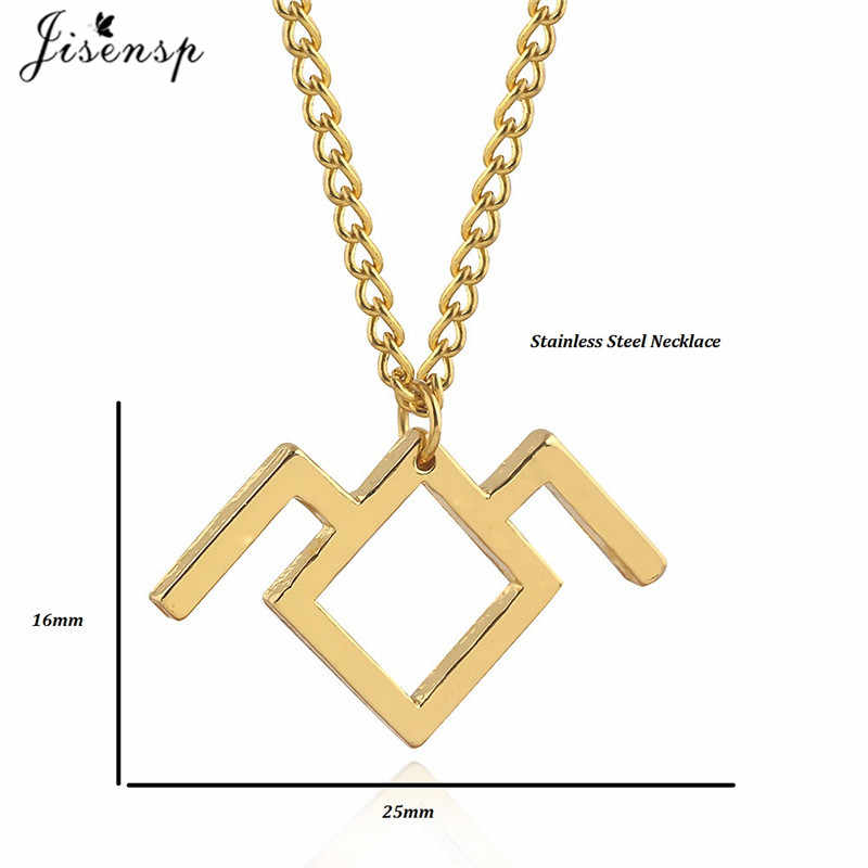 Jisensp Geometric Twin Peaks Necklace for Women Long Chain Necklaces Pendants Fashion Jewelry Stainless Steel Collier Femme