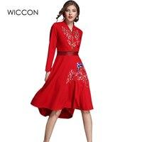 Zarif sonbahar yeni kadın elbise çin tarzı uzun kollu sashes bow yaka lady orta buzağı elbiseler yüksek bel katı kırmızı nakış