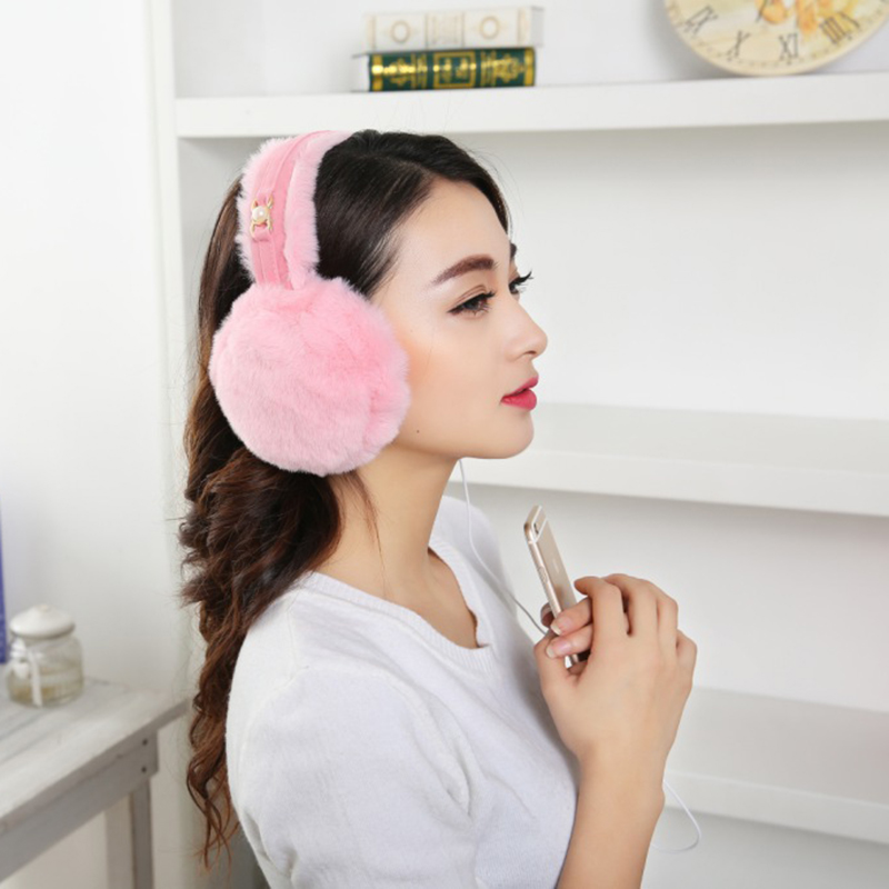 High Quality Female Winter Earmuffs Music Earphone Headphones Plush Warm Ear Muffs For Men Ear Warmers
