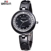 Original WEIQIN Full Ceramic Band Woman Watches Rhinestone Clock Women Black Dress Female Wristwatches Waterproof Relojes