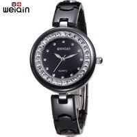 Orijinal WEIQIN Tam Seramik Band Kadın Saatler Taklidi Saat Kadınlar Siyah Elbise Kadın Saatı Su Geçirmez Relojes