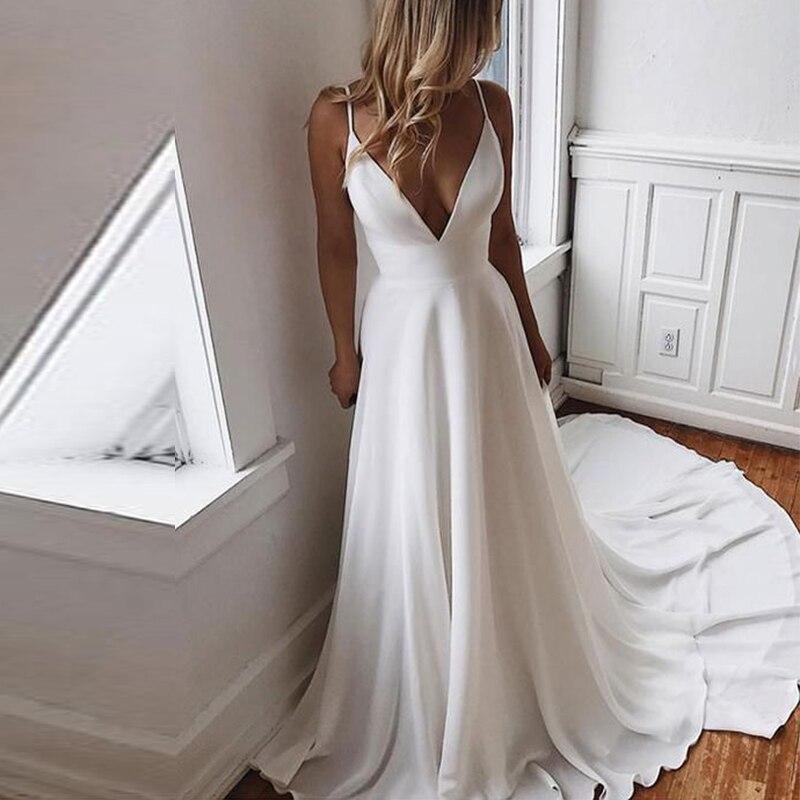 Spirited Vestido De Novia Playa 2019 Sexy V-neck Spaghetti Straps Chiffon Wedding Dress Beach A-line Bridal Gown Robe Mariage Custom Made