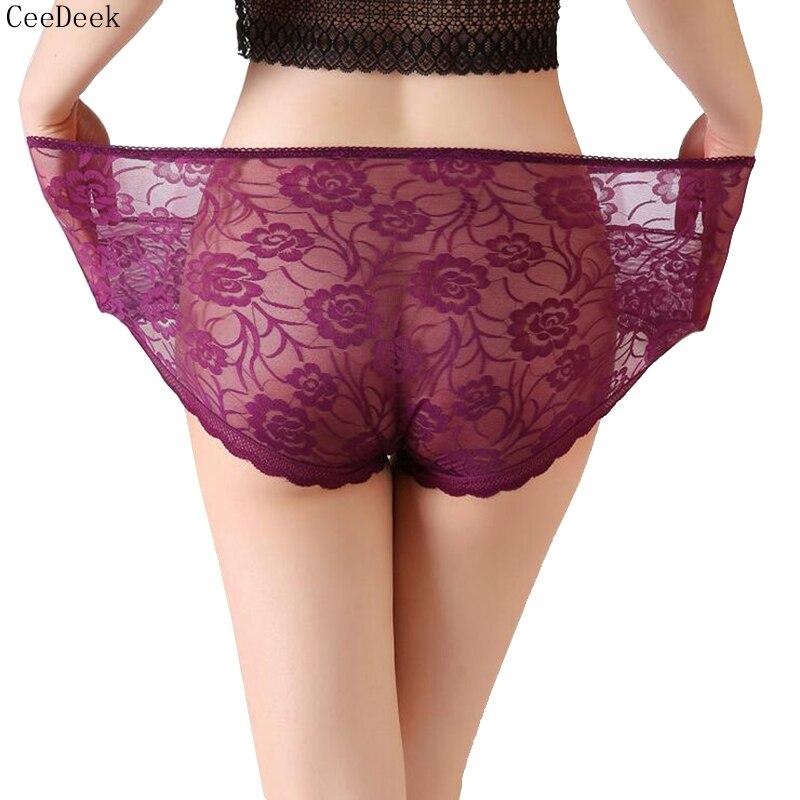 Large Size Transparent Lace Underwear High Waist Sexy Panties for Women Flower Patterned Briefs XxL XxxL XxxxL Black Underpants