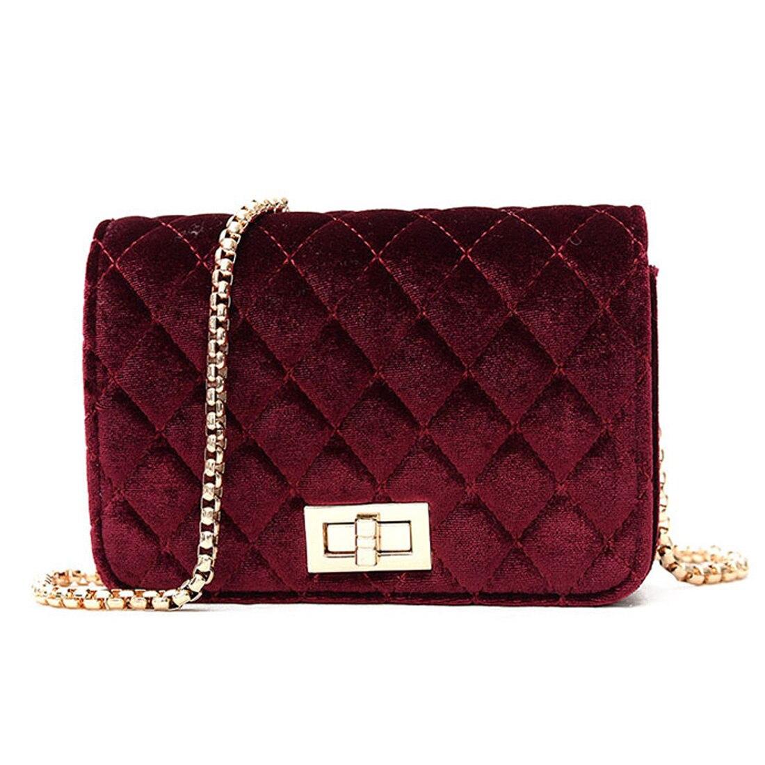 2017 Velour Frauen Crossbody Tasche Luxus Handtaschen Frauen Taschen Designer Marke Damendiamantgitter Kette Schulter/messenger Bags Ausgereifte Technologien