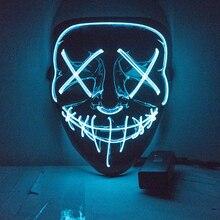 X שמח צעצוע ליל כל הקדושים LED מסכת טיהור מסכות מסיבת בחירות מסכת אור מסכות זוהר בחושך ניאון מסכה