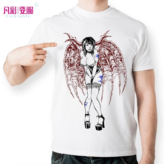 Sexy Girl With Red Wings Blue Tattoo T Shirt Creative -9765