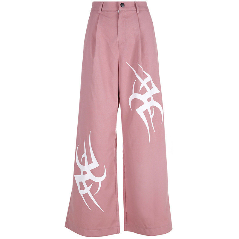 Women New Smoke Pink Black Print High Waist Slimming Wide Leg Trousers Women Fashion Streetwear Loose Straight Pants Hot Sale