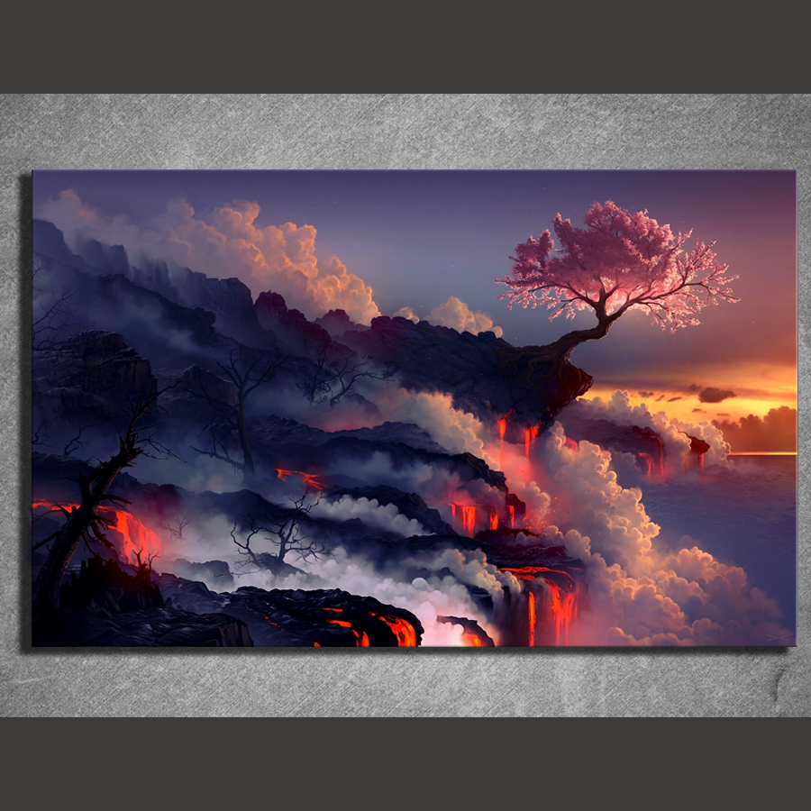1 Piece Canvas Painting Fantasy Art Scorched Earth Lava Landscape Cherry Blossom Sunset Life Blossom HD Picture Print Wall Decor 1