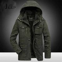 AFS JEEP 6xl 7xl 8xl Plus Size Hooded Winter Parkas Solid Miliar Cotton Coat 2017 Winter