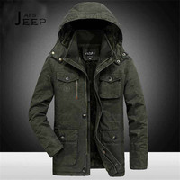 AFS JEEP 6xl 7xl 8xl Plus Size Hooded Winter Parkas Solid Miliar Cotton Coat 2017 Winter