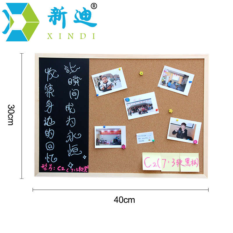 New 30*40cm Bulletin Board Blackboard Cork Board Combination 1:3 Wooden Frame Message Board Home Photos Write Notes Chalkboard 2